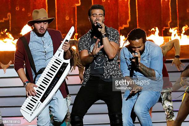 Maffio Jencarlos Canela and KyMani Marley on stage during the 2015 Premios Tu Mundo at the American Airlines Arena in Miami Florida on August 20 2015...