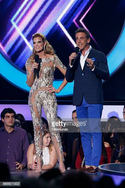 MUNDO 2016 'Show' Pictured Maritza Rodriguez and Carlos Ponce on stage during the 2016 Premios Tu Mundo at the American Airlines Arena in Miami...