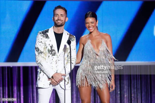 MUNDO 2017 'Show' Pictured Mauricio Henao and Zuleyka Rivera on stage during the 2017 Premios Tu Mundo at the American Airlines Arena in Miami...