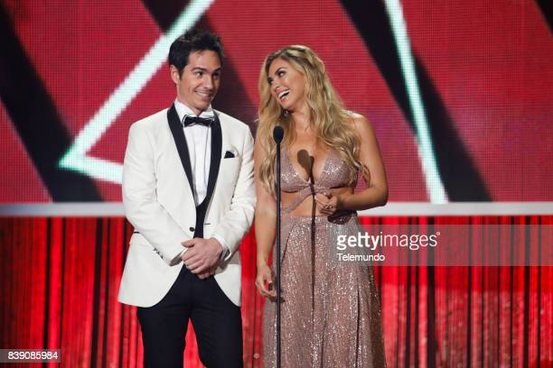 MUNDO 2017 'Show' Pictured Mauricio Ochmann and Aracely Arambula on stage during the 2017 Premios Tu Mundo at the American Airlines Arena in Miami...