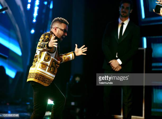 AWARDS Show Pictured Nacho accepts the Cancion Favorita Tropical award at the Dolby Theater in Hollywood CA on October 25 2018