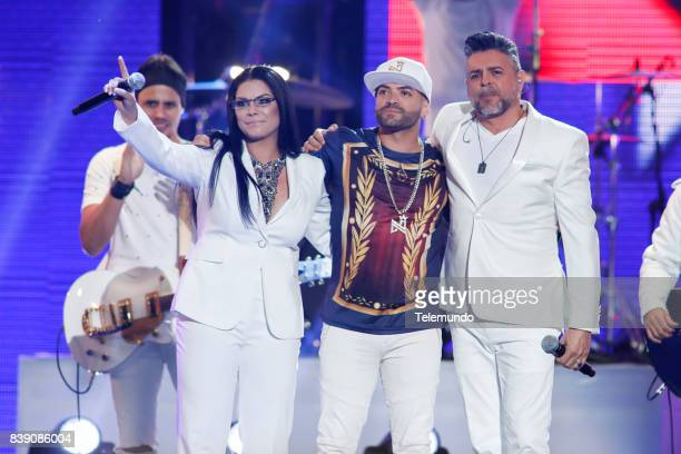 MUNDO 2017 'Show' Pictured Olga Tanon Nacho and Luis Enrique on stage during the 2017 Premios Tu Mundo at the American Airlines Arena in Miami...