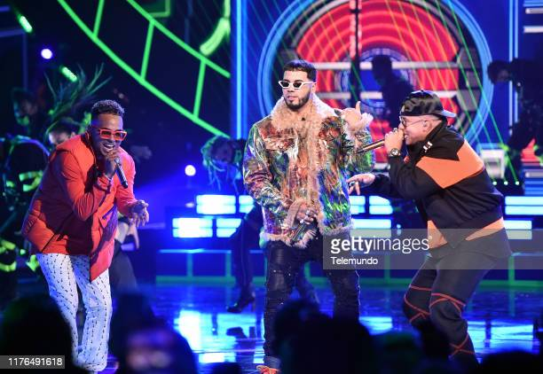 AWARDS Show Pictured Ozuna Anuel AA and Daddy Yankee perform at the Dolby Theatre in Hollywood CA on October 17 2019