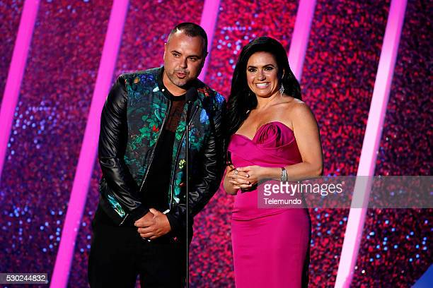 Penelope Menchaca and Juan Magan on stage during the 2014 Billboard Latin Music Awards from Miami Florida at the BankUnited Center University of...