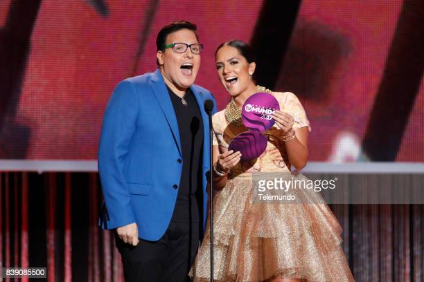 MUNDO 2017 'Show' Pictured Raul Gonzalez and Ana Lorena Sanchez on stage during the 2017 Premios Tu Mundo at the American Airlines Arena in Miami...