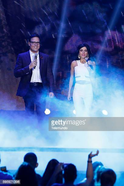 "Show"" -- Pictured: Raul Gonzalez and Carolina Gaitan perform on stage during the 2016 Premios Tu Mundo at the American Airlines Arena in Miami,..."