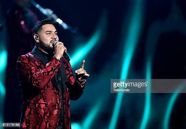 AWARDS 'Show' Pictured Recording artist Alan Manuel Ramirez Salcido of music group Banda Sinaloense MS de Sergio Lizarraga performs on stage during...