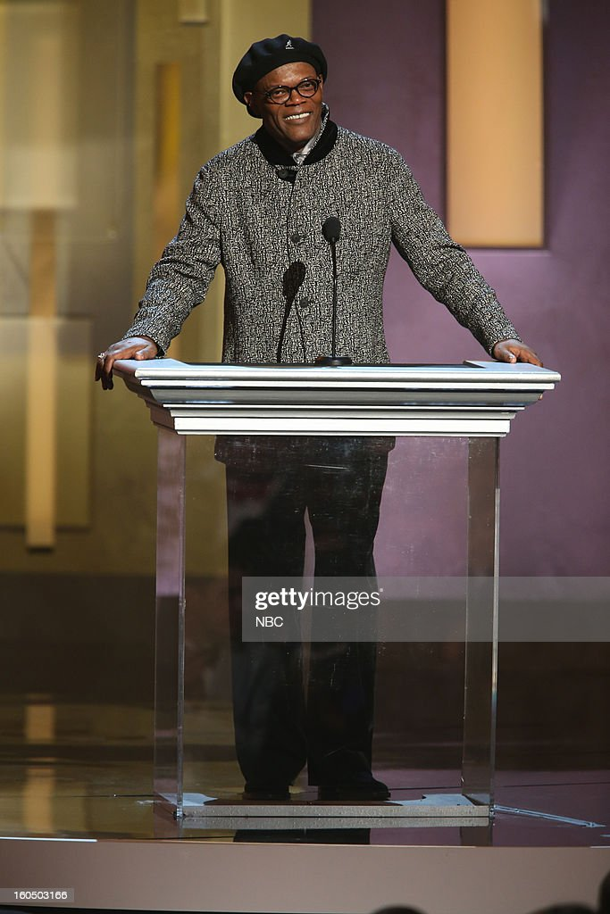 Samuel L Jackson presenting on stage at The Shrine Auditorium, February 1, 2013 --