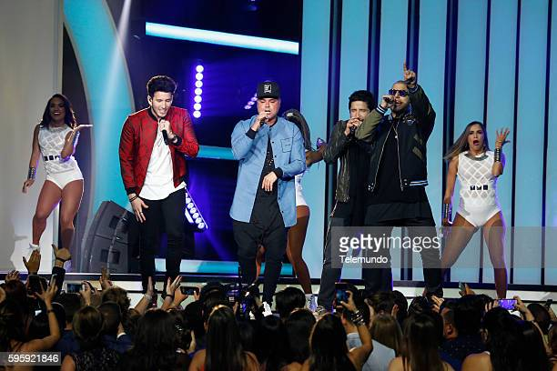 MUNDO 2016 'Show' Pictured Sebastian Yatra Juan Magan and Cali y El Dandee perform on stage during the 2016 Premios Tu Mundo at the American Airlines...