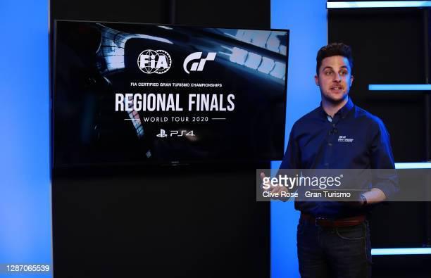 Show presenter Tom Brooks during the FIA Gran Turismo Championship EMEA Regional Finals 2020 broadcast on November 22, 2020 in London, England.