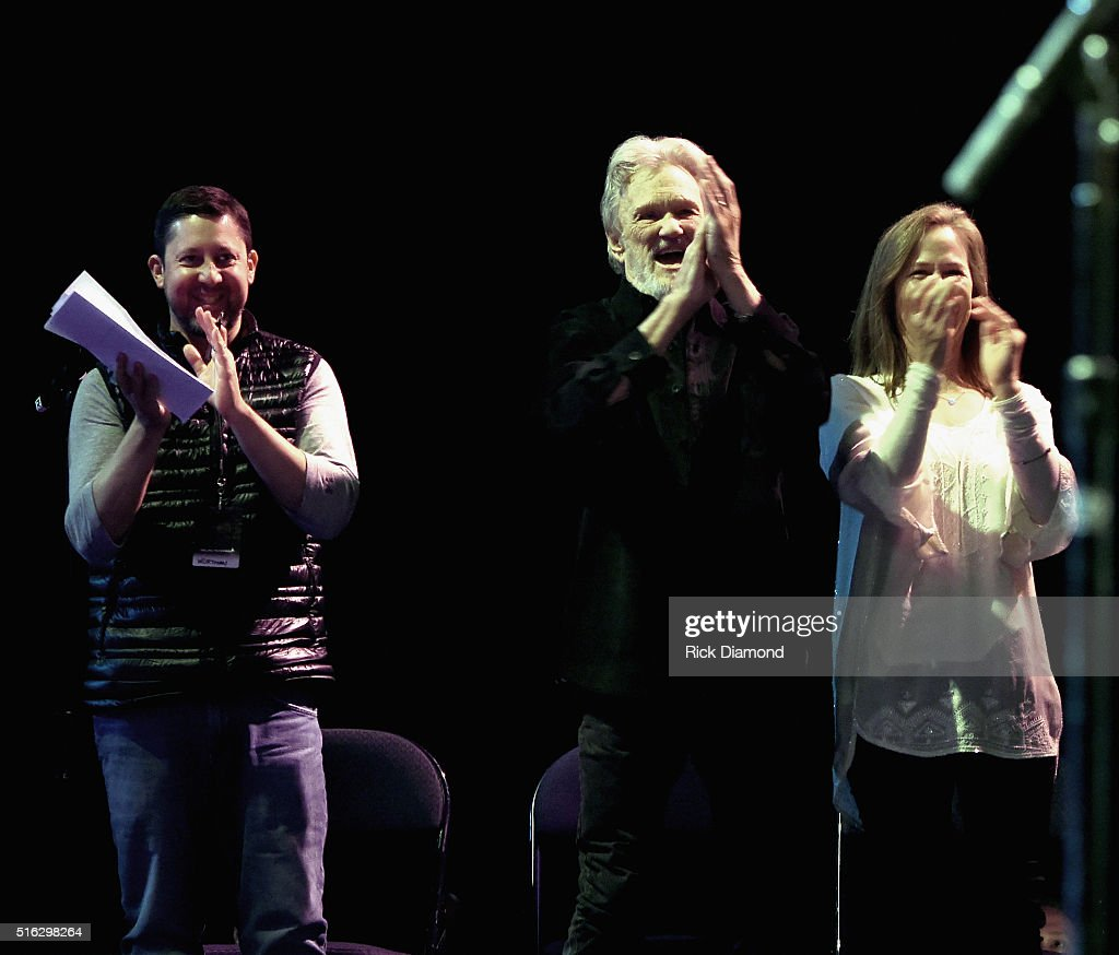 Show Producer Keith Wortman, Kris Kristofferson and Lisa Kristofferson at The Life & Songs of Kris Kristofferson produced by Blackbird Presents at Bridgestone Arena on March 16, 2016 in Nashville, Tennessee.