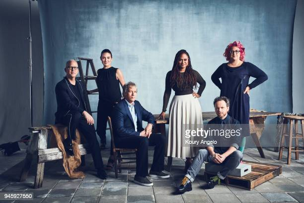 Show runners Ryan Murphy Lisa Joy David E Kelly Ava Duvernay Noah Hawley and Jenji Kohan are photographed for The Hollywood Reporter on April 12 2017...