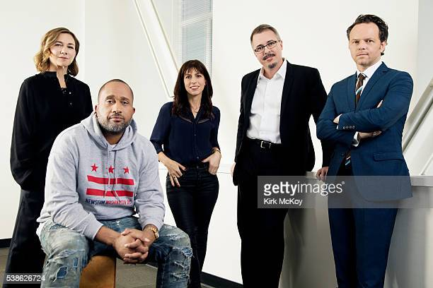 Show runners Vince Gilligan Noah Hawley Ilene Chaiken Kenya Barris Jessica Goldberg are photographed for Los Angeles Times on April 25 2016 in Los...
