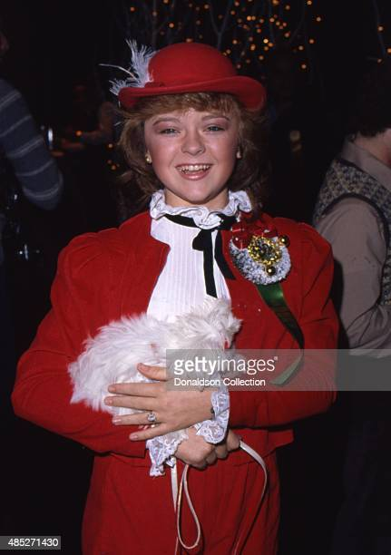 TV show The Love Boat star Jill Whelan holds her tiny dog as she attends the Hollywood Christmas Parade in December 1980 in Los Angeles California