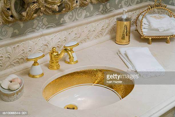 showcase bathroom, close-up of sink - household fixture stock pictures, royalty-free photos & images