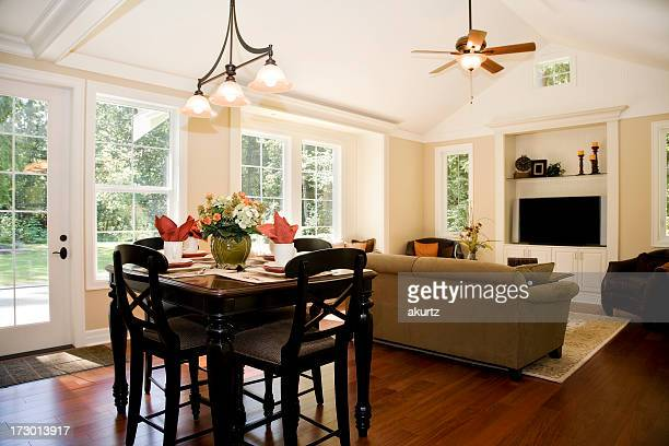 showcase interior architecture design family room with breakfast nook - restoration style stock pictures, royalty-free photos & images