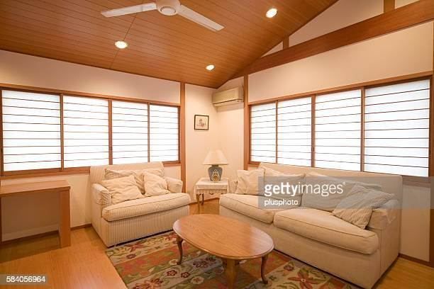 showcase interior of a living room fusing japanese and western decor - plusphoto stock pictures, royalty-free photos & images