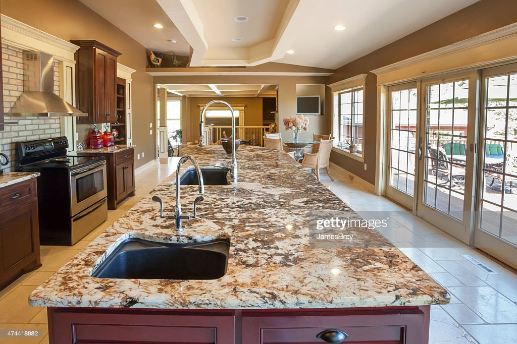 Showcase Kitchen With Marble Center Island Stock Photo Getty Images