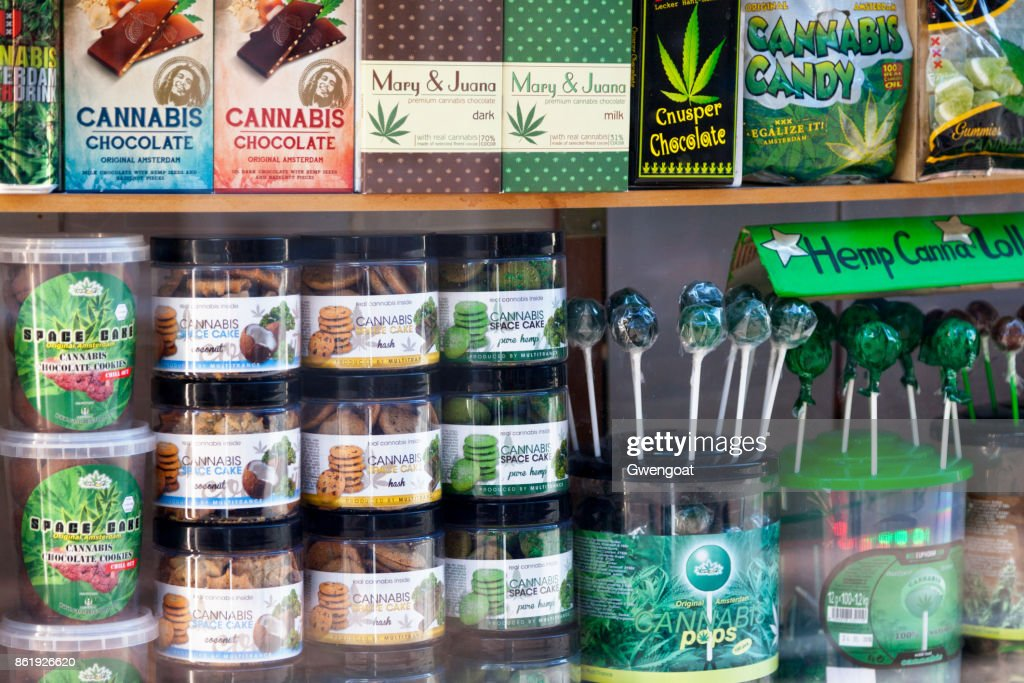 Showcase of cannabis shop in Amsterdam : Stock Photo