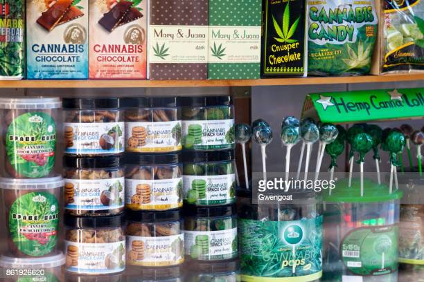showcase of cannabis shop in amsterdam - weed stock photos and pictures