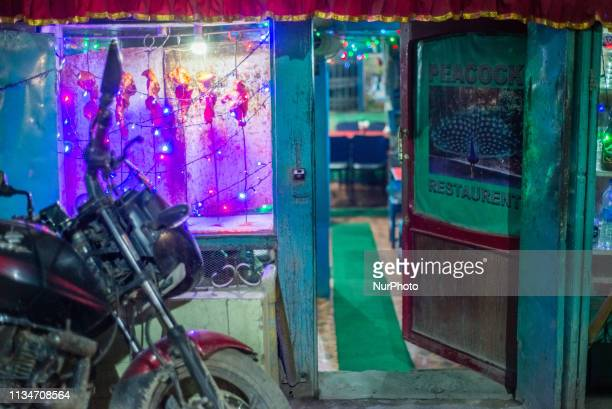 Showcase of chicken pieces at the entrance to the restaurant in Thamel district Kathmandu Nepal on April 3 2019