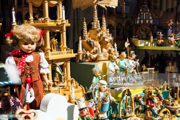 Showcase of the shop where the toys and trinkets are sold in Rothenburg ob der Tauber, Germany