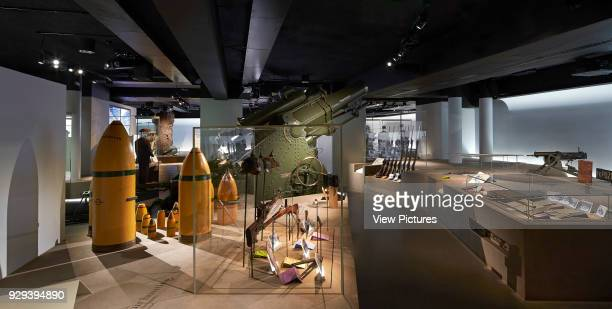Showcase with WWI weapons of war Imperial War Museum London United Kingdom Architect Casson Mann 2015