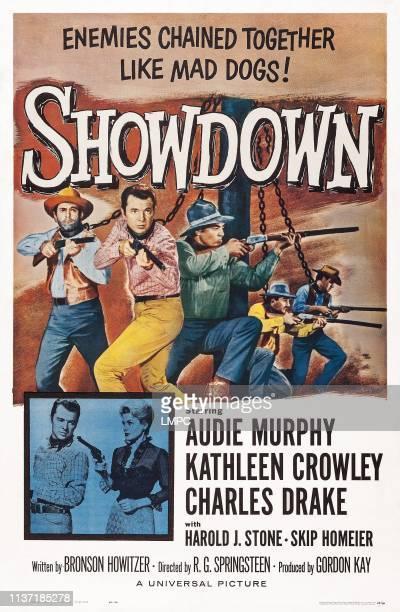 Showdown poster US poster art top center Audie Murphy bottom from left Audie Murphy Kathleen Crowley 1963