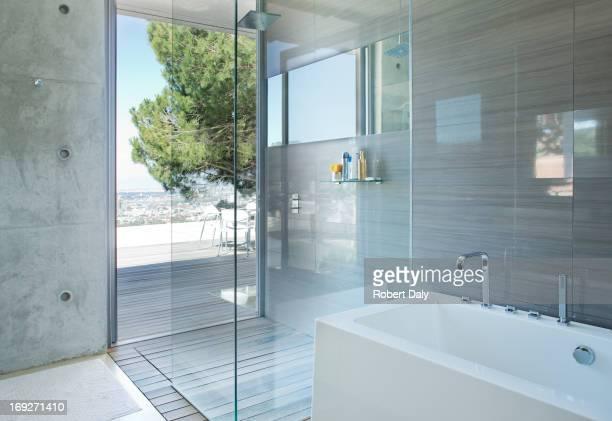 シャワーとバスタブを配したモダンなバスルーム