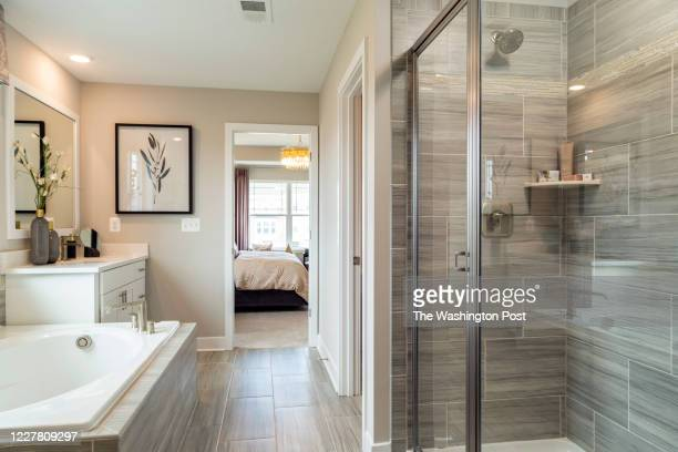 Shower and Tub in the Master Bath of the Danbury Model Home at Stonehaven on July 17, 2020 in White Plains Maryland.