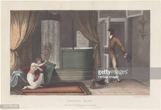 Shower Bath from Poetical Sketches of Scarborough 1813 Artist Thomas Rowlandson J Bluck Joseph Constantine Stadler