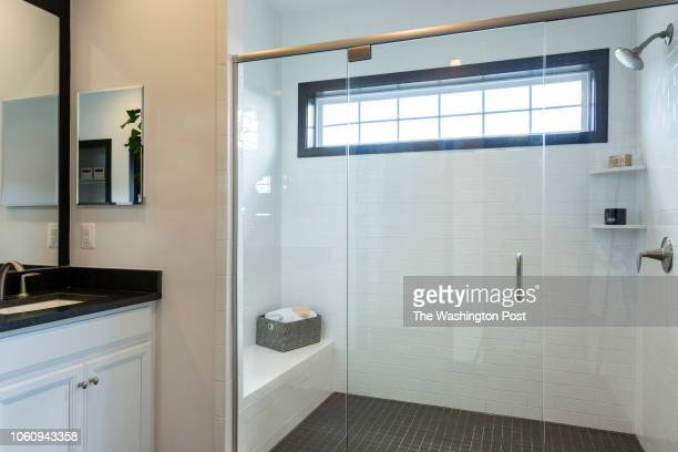 Shower in the Master Bath in the Delanie model home at Loudon Valley The Carlisle on October 24 2018 in Ashburn Virginia