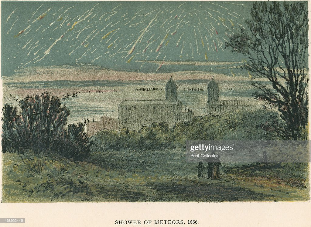 Shower of meteors (Leonids) observed over Greenwich, London, 1866 (1884). : News Photo