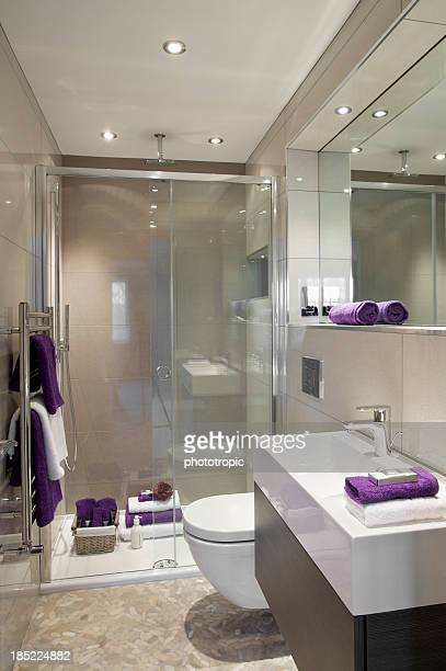 shower room with purple