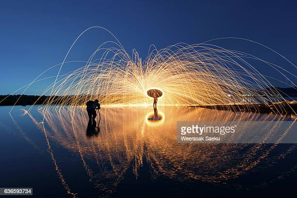 Showers of hot glowing sparks