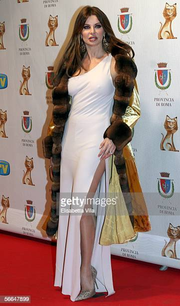 Showgirl Alba Parietti attends the TV Sport Cinema And Music Italian Awards at the Auditorium on January 22 2006 in Rome Italy