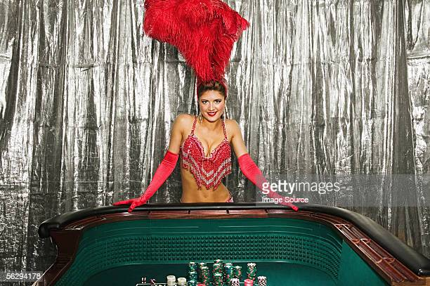 Showgirl at a craps table