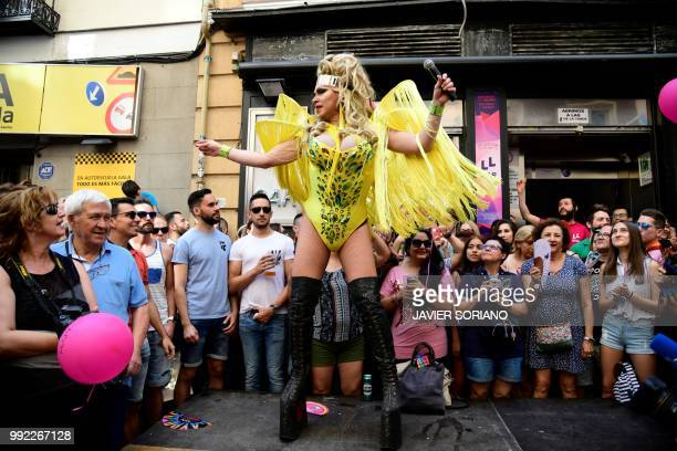 Showgirl Chumina Power performs during the High Heels Race as part of the Gay Pride 2018 celebrations in Madrid on July 5 2018
