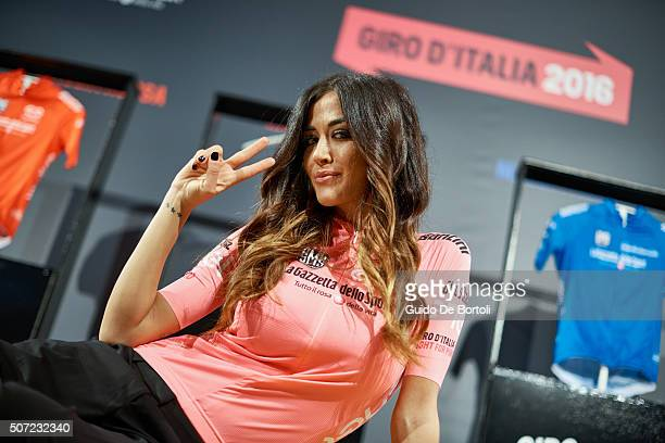 Showgirl Giorgia Palmas attends the Giro D'Italia 2016 Jersey Unveiling on January 28 2016 in Milano Italy