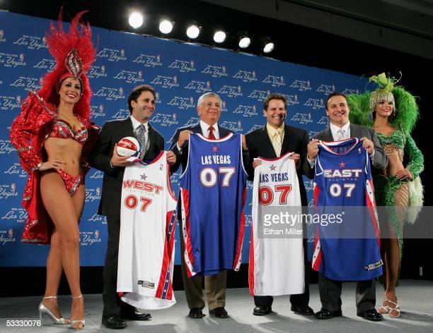 Showgirl Jennifer Gagliano George Maloof president of the Palms Casino Resort NBA commissioner David Stern Joe Maloof Gavin Maloof and showgirl...