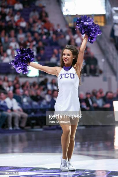 Showgirl performs prior to the game between the Texas Longhorns and TCU Horned Frogs on February 10 2018 at Ed Rae Schollmaier Arena in Fort Worth TX