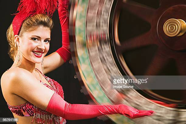 Showgirl spinning wheel of fortune