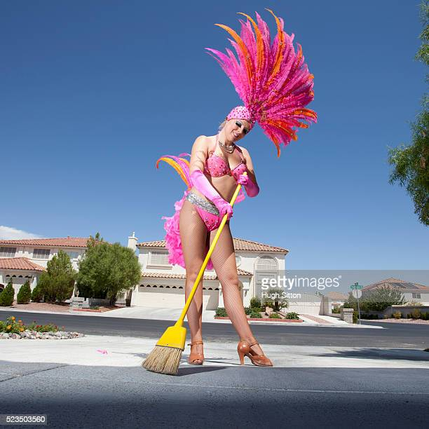showgirl sweeping driveway - hugh sitton stock pictures, royalty-free photos & images