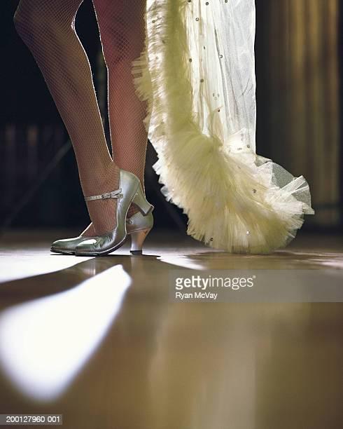 danseuse de cabaret avec bas résille, partie inférieure - danseuse de cabaret photos et images de collection