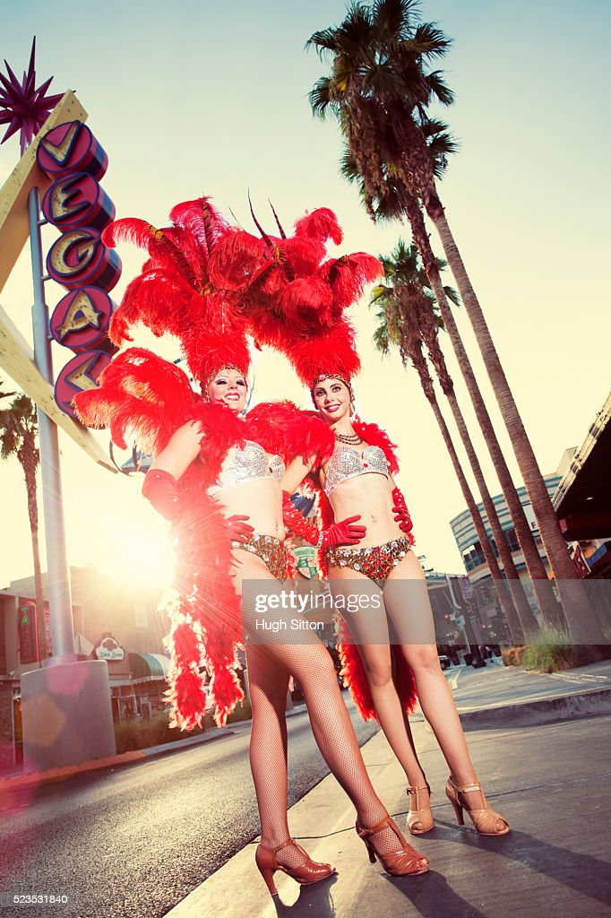 Showgirls on street, Las Vegas, Nevada, USA : Stock Photo