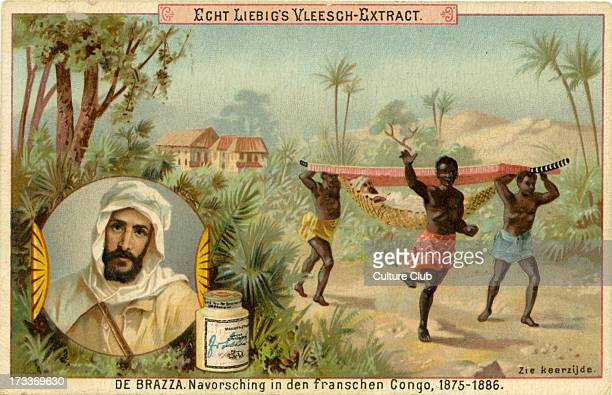 Showing Congolese youths carrying de Brazza in a stretcher Published in 1891 Liebig Company series of Dutch collectible cards showing famous...