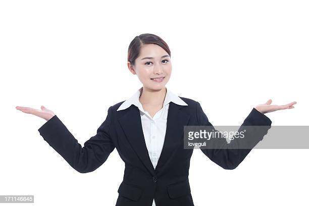 showing gesture business woman