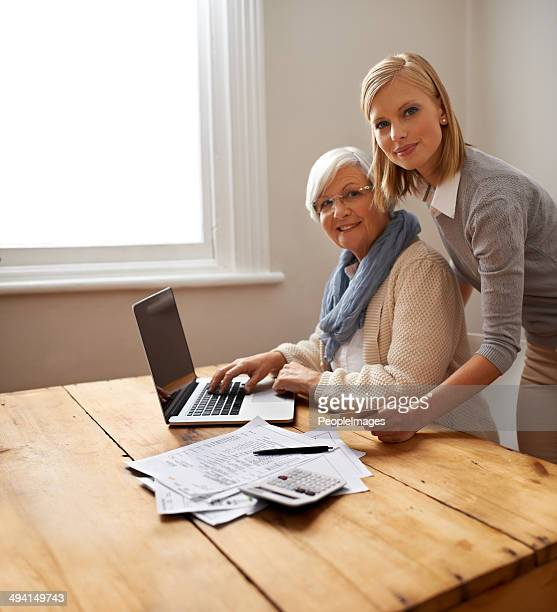 Showing her gran how to shop online