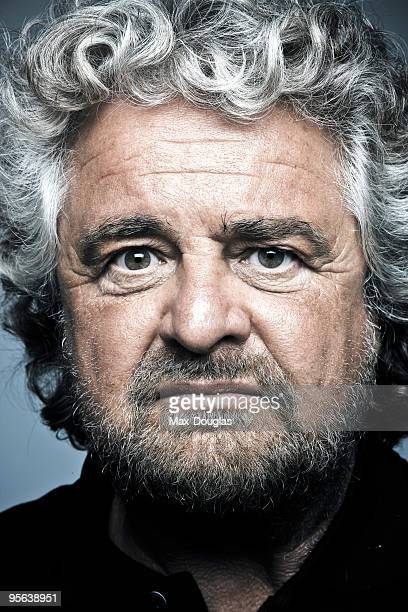 Showman Beppe Grillo poses for a portrait shoot in Livorno on July 24 2007