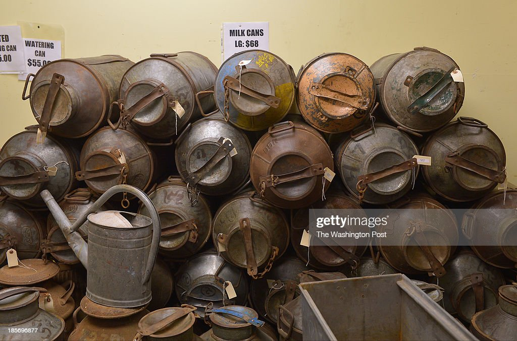 Shown are an assortment of antique milk cans at Great Stuff
